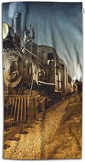 Moslion Train Bath Towel Vintage Steam Engine Locomotive Train Moving Down Railroad Track Towards Camera Towel Soft Microfiber Baby Hand Beach Towel for Kids Bathroom 32x64 Inch Brown Blue