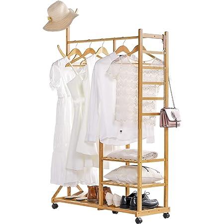 Yorbay 4 en 1 Portant Penderie à Vêtements en Bambou, avec Porte-Manteau sur Le Côté Design Arbre avec des Crochets, 3 Etagères de Rangement, avec Roues Universels