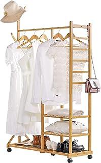Yorbay 4 en 1 Portant Penderie à Vêtements en Bambou, avec Porte-Manteau sur Le Côté Design Arbre avec des Crochets, 3 Eta...