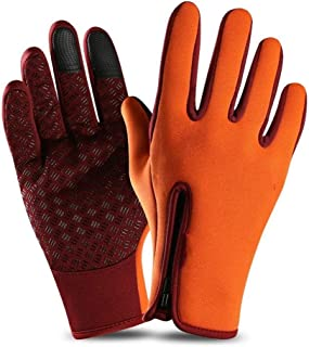 JCCOZ Touch Screen Gloves Warm Lining Zipper Gloves for Driving Outdoor Riding (Color : Orange, Size : XL)