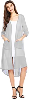 Women 3/4 Sleeve Split Back Sheer Chiffon Maxi Kimono Long Cover Up Blouse