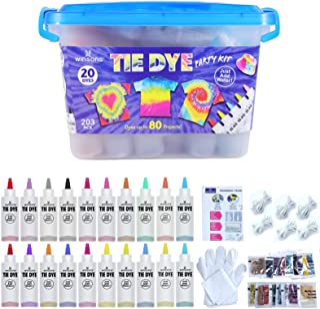 WINSONS Tie Dye Kit, 20 Colores de Tinte de Tela Permanente no tóxico Set de Arte para niños Mujeres para la Fiesta casera...