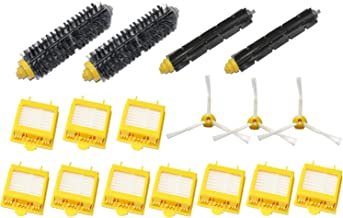 SHP-ZONE DerBlue Compatible/Replacement Parts for Irobot Roomba 600 610 620 650 Series (for iRobot Roomba 700 Series),Include 2 Bristle and Flexible Beater Brush,10 Filter,3 Side Brush