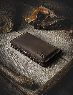 iPhone 11 iPhone Pro iPhone 11 Pro Max funda de cuero para billetera funda para dos teléfonos Wood Brown hecho a mano Fund...