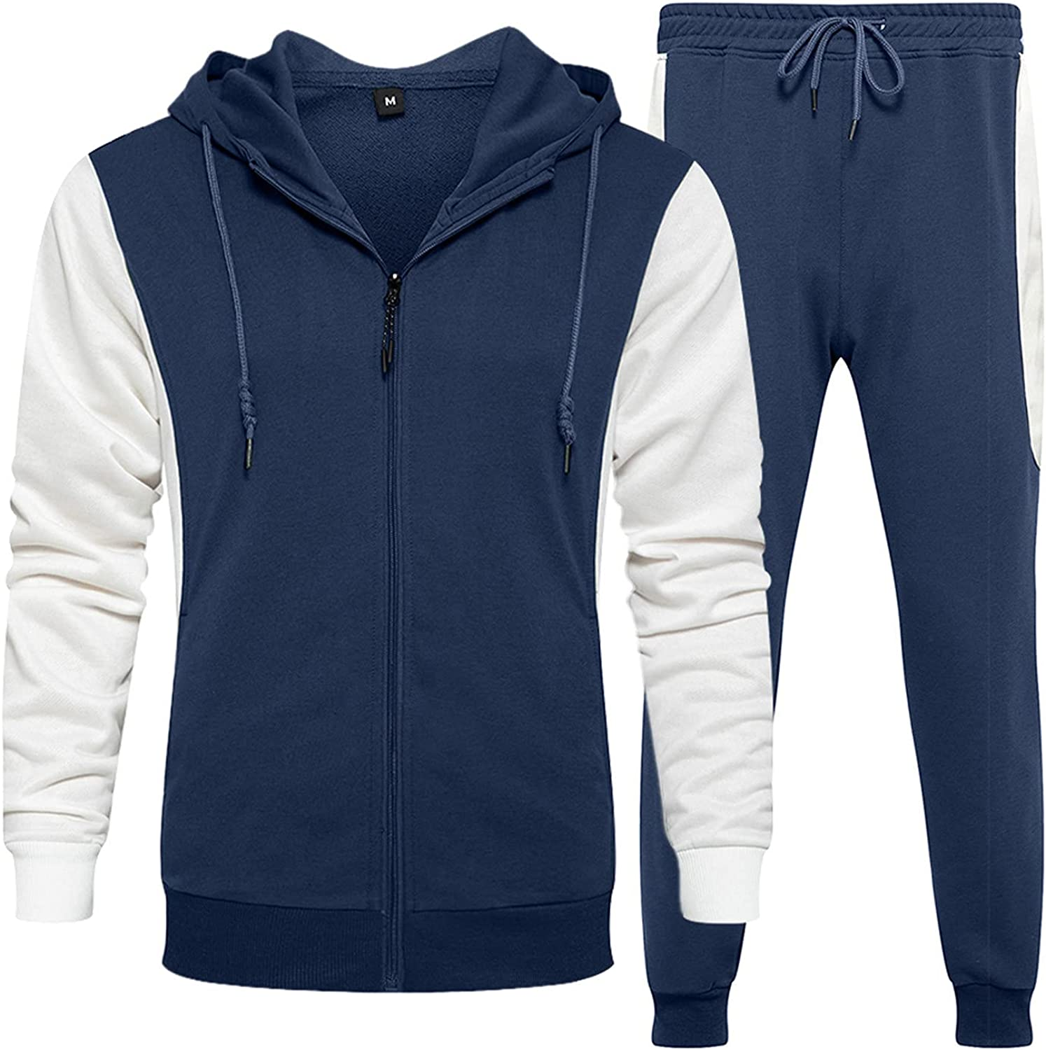 WoCoo Mens Tracksuit 2 Piece Set Patchwork Hooded Blouse & Pants Suits Fashion Full Zip Baseball Athletic Jacket Sets