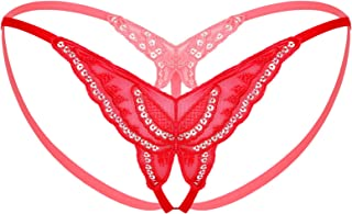 Kaerm Women Sexy Panties Sequined Butterfly Embroidery G-String Thong Strappy Briefs Underwear