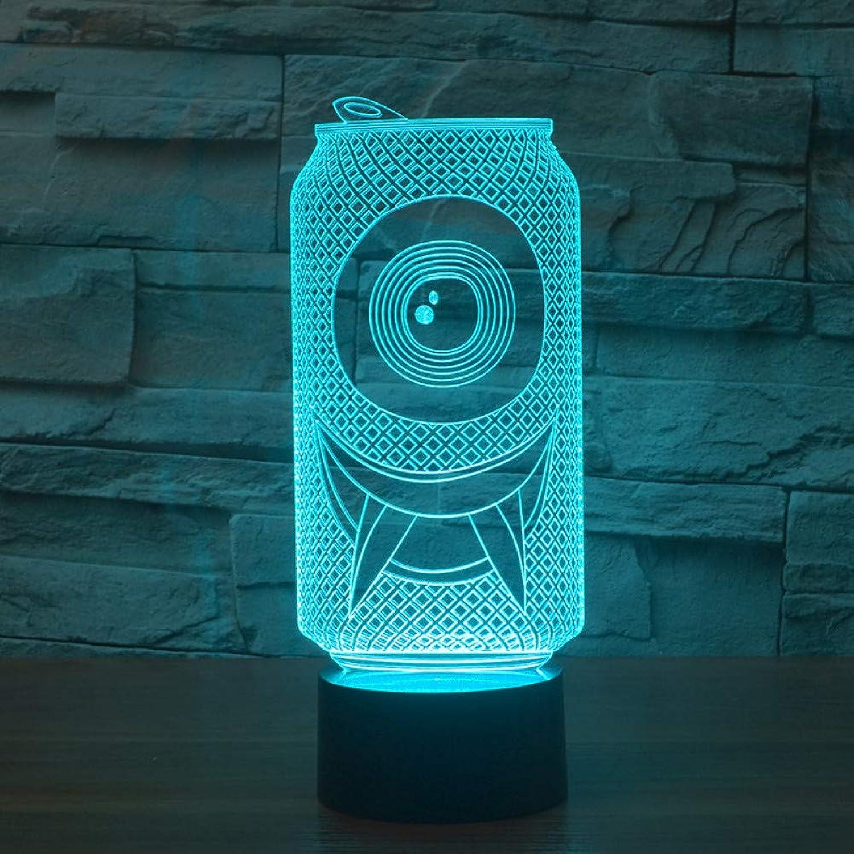 Wuqingren 7 Farbe Tischlampe Nacht 3D Acryl Coole Dosen Form LED Nachtlicht Kinder Geschenke Dekor Schlaf Leuchte,Remote und berühren