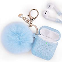 Airpods Case - Filoto Airpods Silicone Glitter Cute Case Cover with Pompom/Keychain/Strap for Apple Airpods 2&1, 2019 Newest 360° Protective Air Pods Charging Case Cover (Glitter Light Blue)