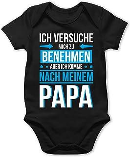 Shirtracer Sprüche Baby - Ich versuche Mich zu benehmen Aber ich komme nach Meinem Papa blau - Baby Body Kurzarm für Jungen und Mädchen