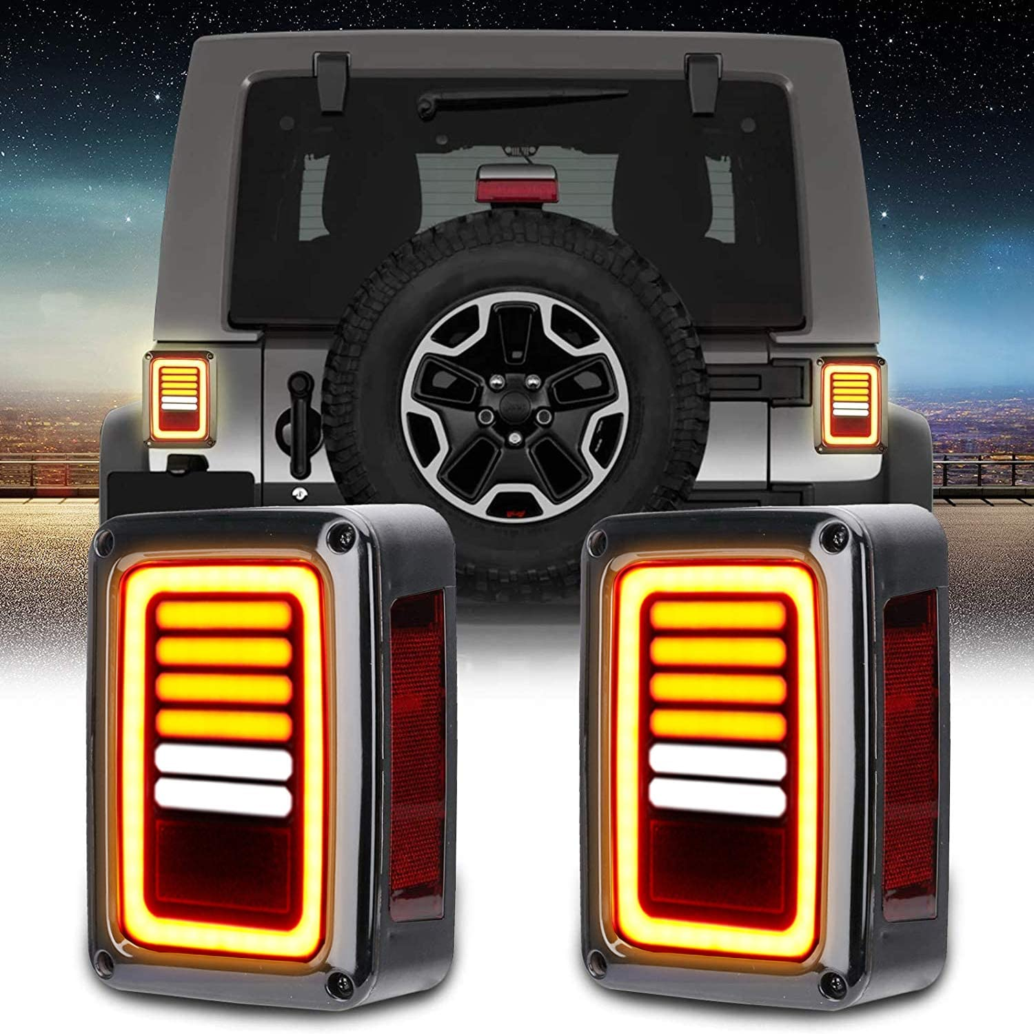 Outlet sale feature BORDAN Wrangler JK 2021 spring and summer new LED Tail Rev for Smoked Lights 07-17