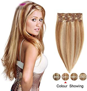 Hairpieces Hairpieces Clip in Hair Extension Colour #12/613 Blonde to Brown, 20inch Human Hair Extensions Clip in Full Head Set 7pcs/70g for Daily Use and Party (Color : #12/613 Blonde)
