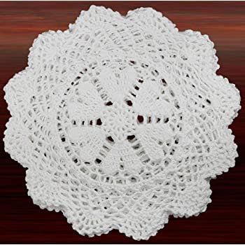 Creative Linens 6PCS 10 Inch Round Handmade Cotton Crochet Lace Doilies with Hearts White, Set of 6 Pieces For Valentine's Day, Mother's Day, Wedding Decoration