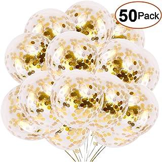 YMSZ Globos de Confeti Dorados, 50 Piezas 12 Pulgadas Globos de Fiesta de látex con Confeti de Papel Dorado para Decoraciones de Bodas de cumpleaños