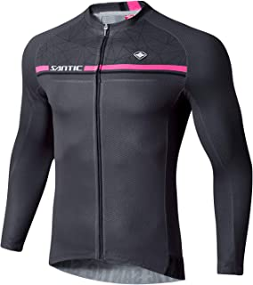 Santic Cycling Jersey Men's Long Sleeve Bike Reflective Full Zip Bicycle Shirts with Pockets (Gray, US M)