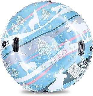 لوله برفی KidsPark لوله برفی 47 اینچ دو لایه ضخیم برای برانگیختن سورتمه سنگین وظیفه سنگین ، فوق العاده بزرگ لوله بادی برای کودکان و بزرگسالان با طناب