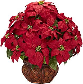 Nearly Natural 1265 22in. Poinsettia with Decorative Planter Silk Arrangement