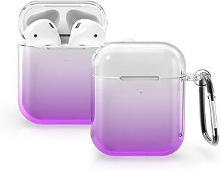kwmobile Protezione Compatibile con Apple AirPods - Cover Porta Auricolari Caricatore Cuffiette - 2 colori viola/trasparente