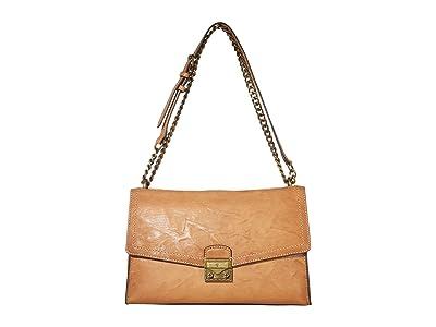 Frye Ella Flap Shoulder (Beige) Handbags