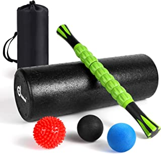 Odoland Foam Roller Set, 18'' Muscle Foam Roller, Muscle Roller Stick and Spiky Massage Balls for High Density Physical Th...