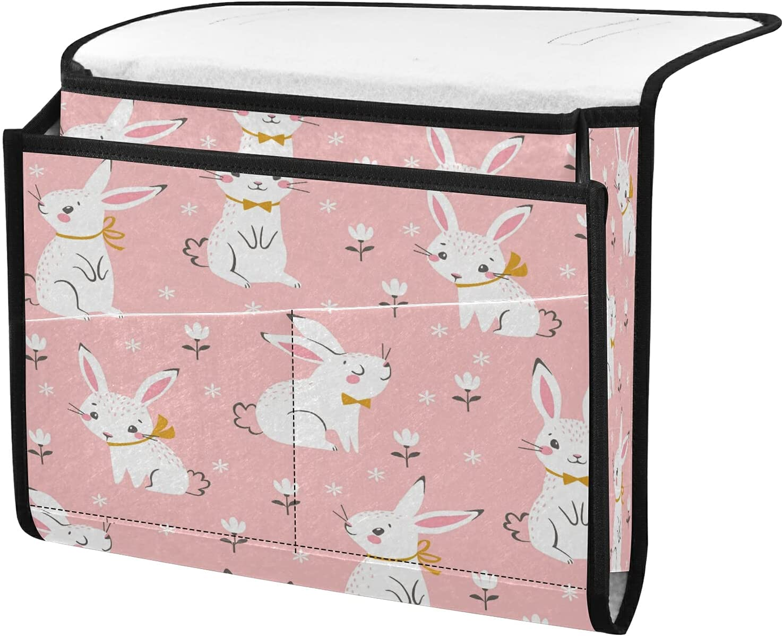 Bedside High quality new Storage Max 40% OFF Organizer Cute White Rabbit Bunnies Flower Besi
