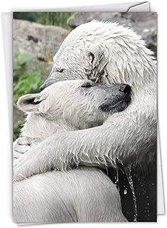 NobleWorks, Bear Hugs - Romantic Valentines Day Card with Envelope - Animal Affection, Vday Greeting with Envelope C6327BVDG