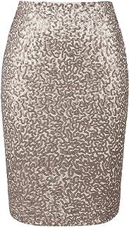 تنورة نسائية ماركة PrettyGuide مزينة بالترتر بخصر عالٍ لامع للحفلات وحفلات الكوكتيل