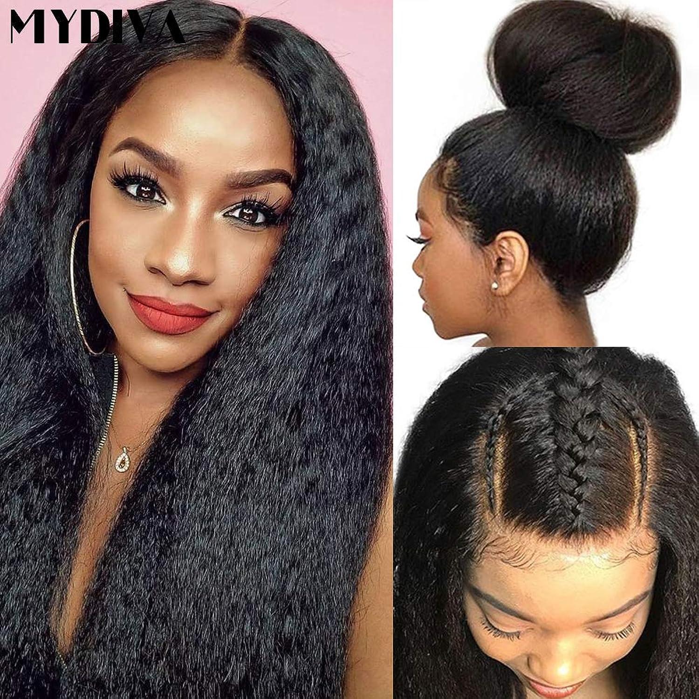 Mydiva Yaki Straight Human Hair Lace Front Wig for Black Women Glueless Lace Wigs Human Hair Yaki Kinky Straight with Baby Hair Brazilian Virgin Hair 150 Density (16 inch)