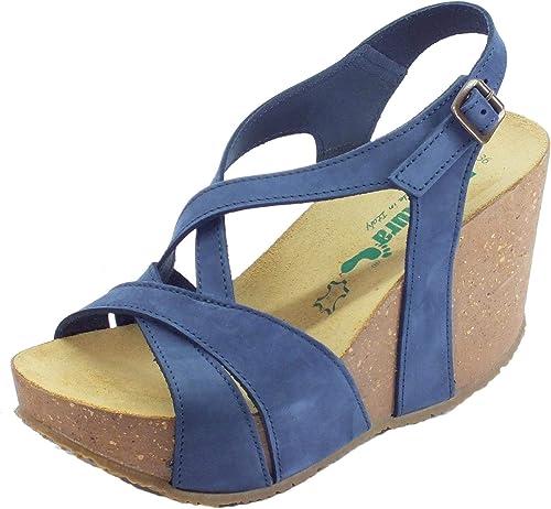 BioNatura Maratea Nabuk - Sandalias para damen, Farbe Blau Marino