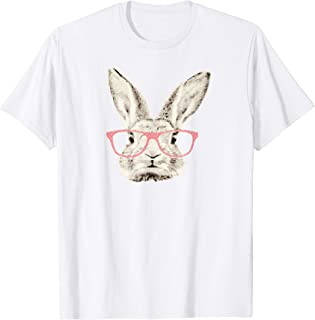 Womens Cute Easter Bunny Rabbit Pink Glasses Hipster Tshirt
