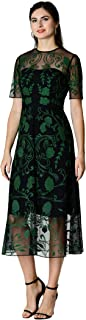 eShakti FX Floral Wool Embellished mesh Dress - Customizable Neckline, Sleeve & Length