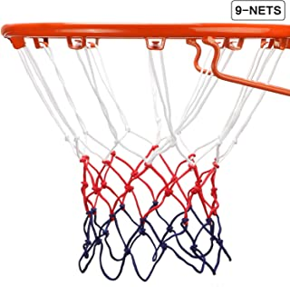 Syhood 8 PCS Heavy Duty Basketball Net Replacement Outdoor Indoor All Weather Thick Nets 12 Loops with 1 Nylon Glowing in The Dark Basketball Net