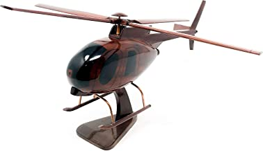 Robinson R-22 Replica Helicopter Model Hand Crafted with Real Mahogany Wood