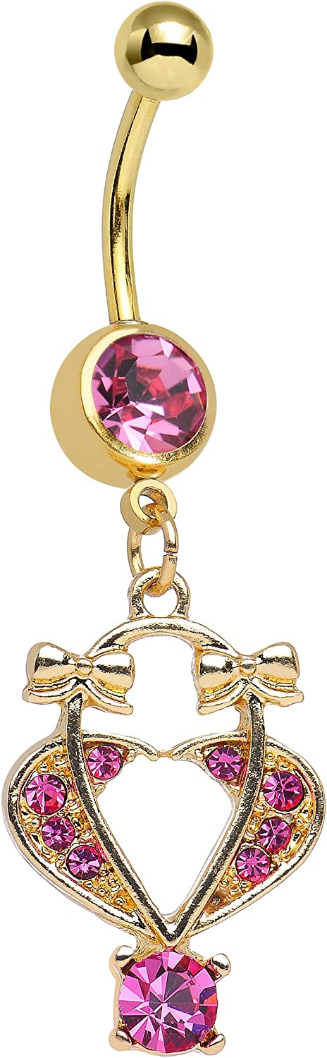 Pink Bow Tied Basket Belly Heart Our shop OFFers the best service Don't miss the campaign Ring Dangle