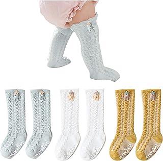 Fatu Fashion Baby Knee High Socks Non Slip Grip Ankle Socks Ruffled Long Stockings for Infants Toddlers Kids Girls