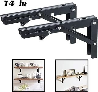Folding Shelf Brackets - Heavy Duty Metal Collapsible Shelf Bracket for Bench Table, Shelf Hinge Wall Mounted Space Saving DIY Bracket, Max Load: 150 lb 2 PCS (14 Inch, Black)