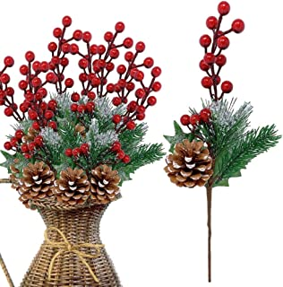 Pine Holly Flower Picks 10 Pieces– Snow Flocked Red Holly Berry Pinecones Holiday Floral Sprays Decoration 13 Inch Bendable Stems - Great for DIY Christmas Crafts Party Festive Home Décor