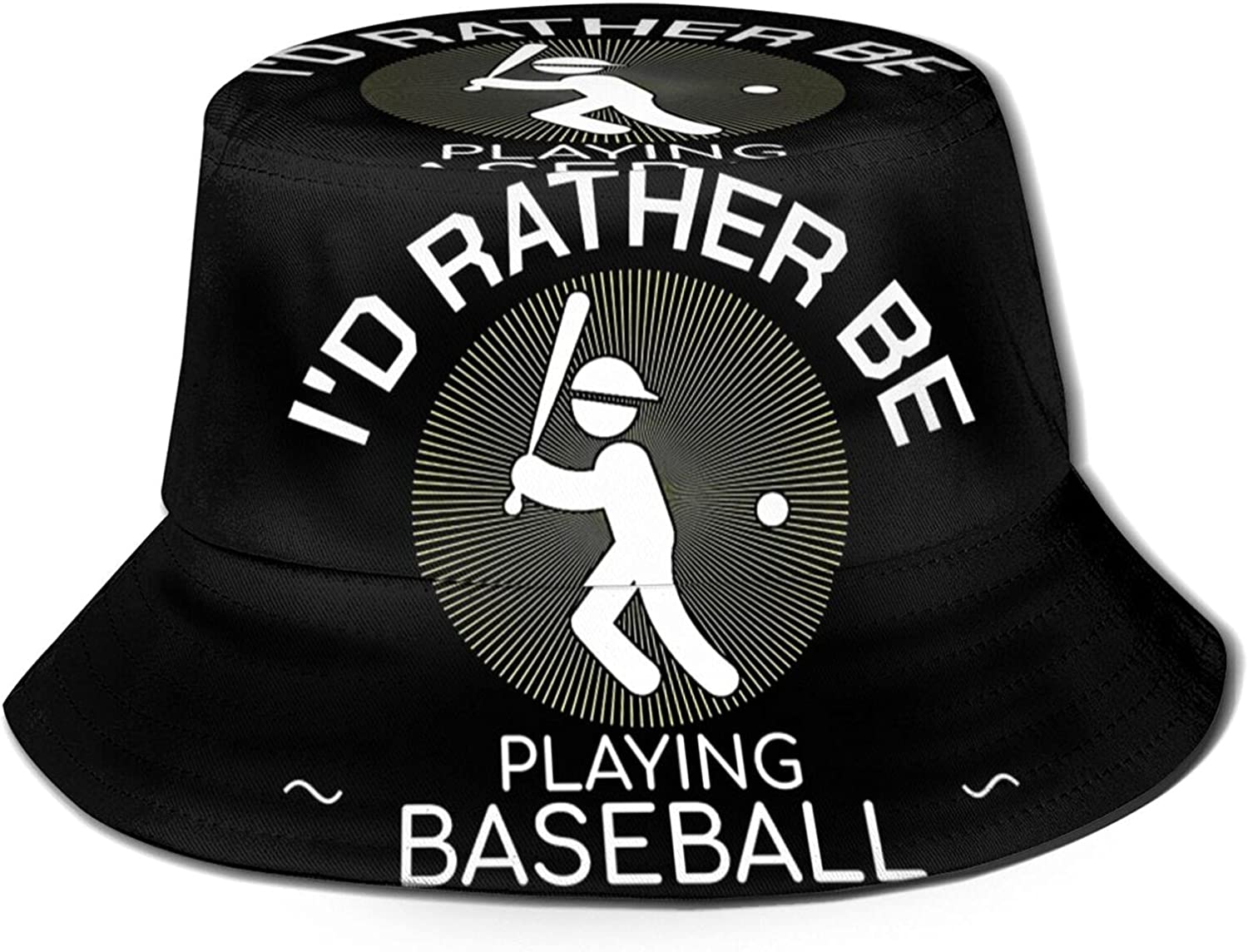 I'd Rather Play Baseball Bucket Limited time cheap sale Summer Hat Unisex Today's only Sun Packab