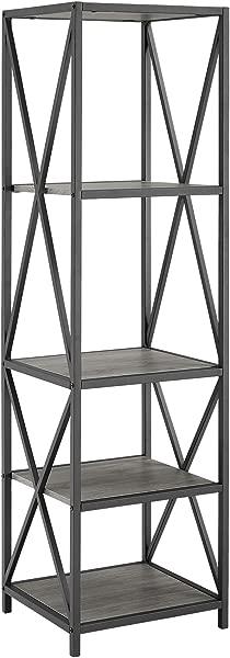 WE Furniture AZST18XMWSG Bookcase 61 Slate Grey Black Metal
