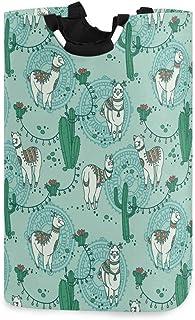 Mignon Doodle Boho Alapaca Cactus Panier À Linge Panier À Linge Sale Vêtements Sac Blanc Vert Pliable Seau Poubelle À Lava...