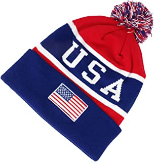 USA American Flag Emroidered Pom Pom Beanie Hat - Navy Red