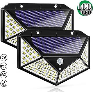 Luz Solar Exterior, Bicolor 100 LED Foco Solar con Sensor de Movimiento Gran �ngulo 270º Impermeable Inalámbrico Lámpara Solar Solares de Pared de Seguridad 3 Modos para Jardín, 2 Paquete