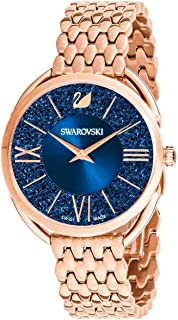 SWAROVSKI Crystal Authentic Crystalline Glam Watch, Metal Strap, Rose Gold Tone - High Class Stone Studded Swiss Made Timepiece Jewelry and Everyday Accessory for Women