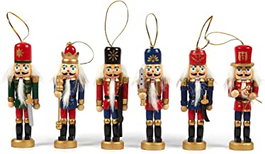 Juvale 6-Pack Christmas Tree Decorations - Hanging Wooden Decorations, Nutcracker Doll Christmas Ornaments, Festive Embell...