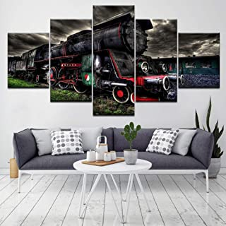 OUPDJ 5 Canvas Paintings Old steam Train 5 Piece HD Wallpapers Art Canvas Print Modern Poster Modular Art Painting for Living Room Home Decor