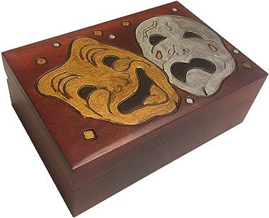 Comedy Tragedy Masquerade Mask Wooden Box Handmade Linden Wood Theater Keepsake Theater Tickets Holder Box Idea