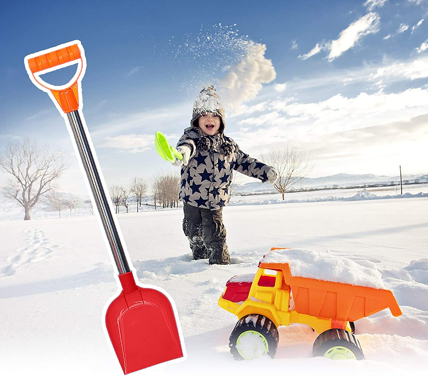 Blue LANJIA Shovel Kids Outdoor Snow Activity Made with Strong Durable Plastic Beach Shovel With Stainless Steel Handle