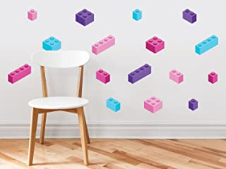 Building Block Bricks Fabric Wall Decals, Set of 16 Blocks in 4 Colors, Peel and Stick Wall Decals Stickers for Kids Nursery Wall Art Room Decor