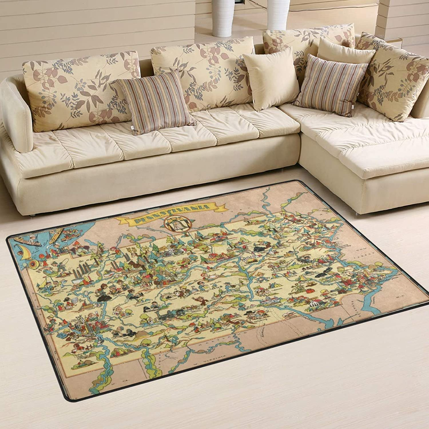 Area Rugs Doormats Vintage Cartoon Map 5'x3'3 (60x39 Inches) Non-Slip Floor Mat Soft Carpet for Living Dining Bedroom Home