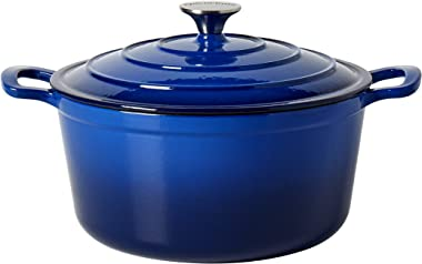 Epicurious Cookware Collection- Enameled Cast Iron Covered Dutch Oven, 6 Quart Dutch Oven Blue