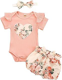 Geagodelia 3tlg Baby Kleidung Outfit Mädchen Babykleidung Set Kurzarm Body Strampler  Blumen Shorts  Stirnband Neugeborene Weiche Sommer Babyset